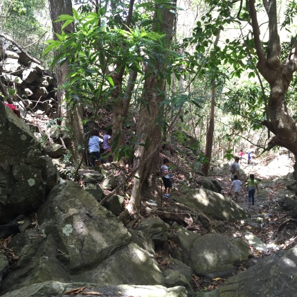 on a hike at Mount Victory Camp