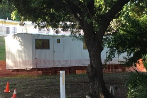 View of trailer on campus